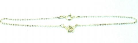 Sterling Silver 925 Bead Link Ankle / Anklet Chain with stone set Flower  15247